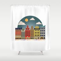 stockholm Shower Curtains featuring Stockholm by HOONISME