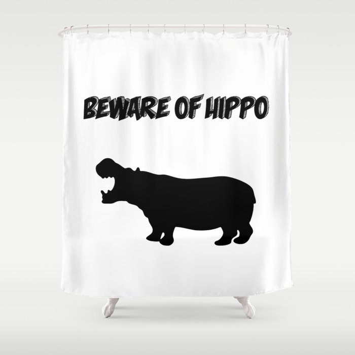 Beware Of Hippo Shower Curtain By Lainey1978