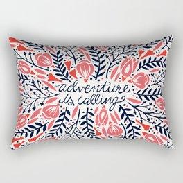 Adventure is Calling – Red & Black Palette Rectangular Pillow