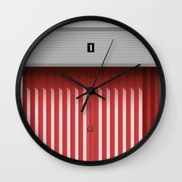 RED GARAGE DOOR Wall Clock