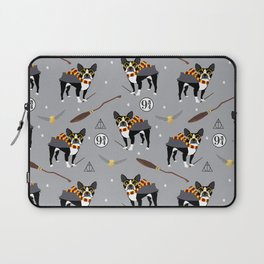 Boston Terrier witch wizard dog pattern gifts Laptop Sleeve