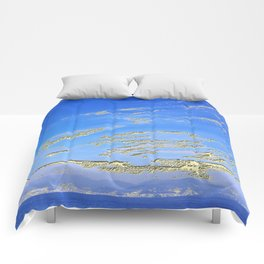 Mediterranean sky with mountains Comforters