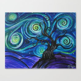 Funky Tree Starry Night Canvas Print
