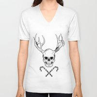 xmas V-neck T-shirts featuring Creepy Xmas by Evgenia Chuvardina