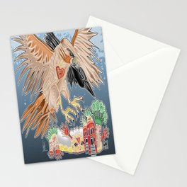 lady hawk and crow Stationery Cards