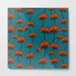 Orange teal floral design Metal Print