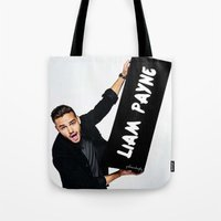 liam payne Tote Bags featuring Liam Payne by girllarriealmighty