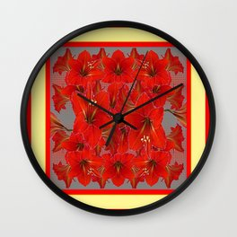 YELLOW COLOR RED AMARYLLIS FLOWER GARDEN  FLOWERS Wall Clock