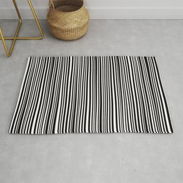Simply small black and white handrawn stripes - vertical - Mix & Match with Simplicty of life Rug