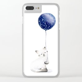 Cat With Balloon Clear iPhone Case