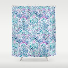 UNICORN DAYDREAMS Mythical Watercolor Tapestry Shower Curtain