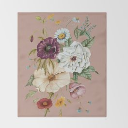 Colorful Wildflower Bouquet on Pink Throw Blanket