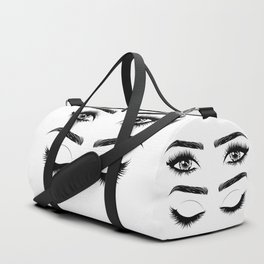 Eyes with long eyelashes and brows Duffle Bag