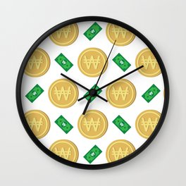 Korean won pattern background Wall Clock