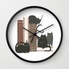 CATS + BOOKS Wall Clock
