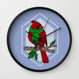 Chilly Cardinal Wall Clock