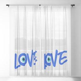 LOVE Greek Eye Design Sheer Curtain