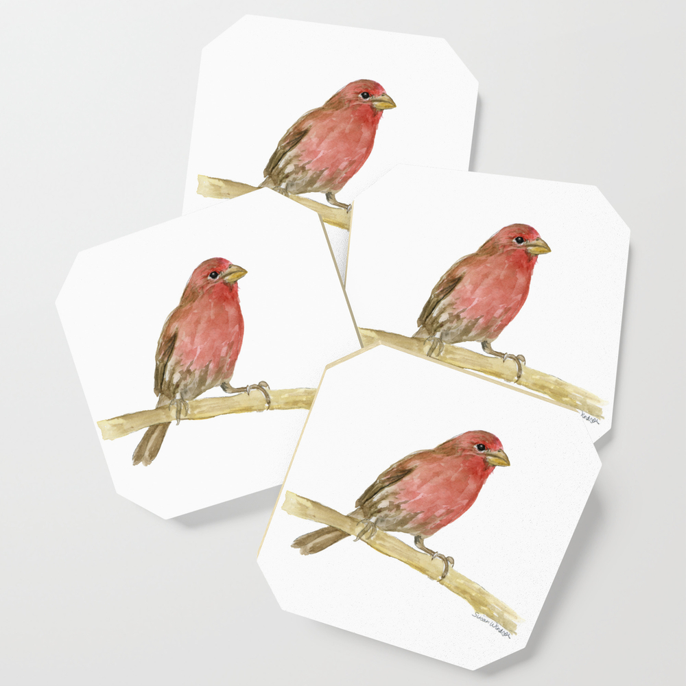 House Finch Bird Watercolor Coasters by susanwindsor (S6C11342623) photo