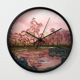 Pink Pond Evening Wall Clock