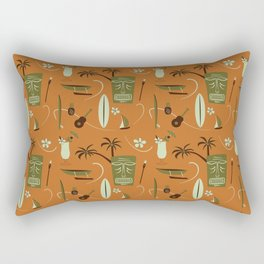 Orange Retro Hawaiian Tiki Hawaii Beach Rectangular Pillow