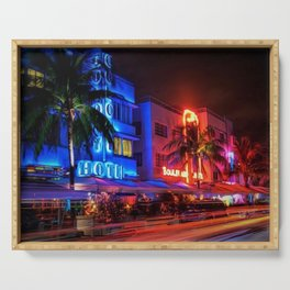 South Beach Miami Portrait in Colorful Time Lapse Paint by Jeanpaul Ferro Serving Tray