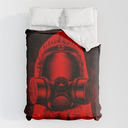 Toxic environment RED / Halftone hazmat dude Comforters