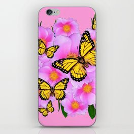 PINK ON PINK ROSES MONARCH BUTTERFLIES iPhone Skin