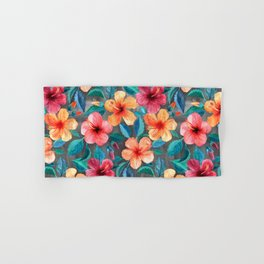 Colorful Watercolor Hibiscus on Dark Charcoal Hand & Bath Towel