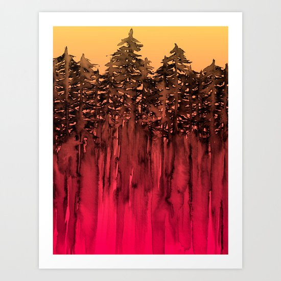 FOREST THROUGH THE TREES 12 Hot Pink Magenta Orange Black Landscape Ombre Abstract Painting Outdoors Art Print