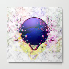Cherry blossom with purple moon Metal Print
