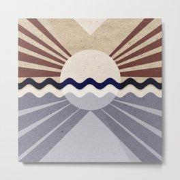 Textured sunrise over sea Metal Print