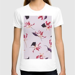 Lily floral hand drawn illustration pattern T-shirt