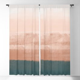 Desert Dream Waves_ Teal Green & Pink_ brush strokes abstract painting Blackout Curtain