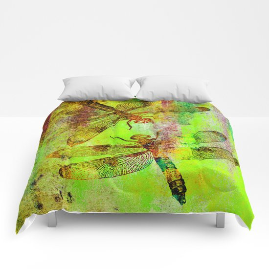 Green Watercolor Dragonflies Comforters