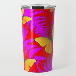 DECORATIVE RED-PURPLE FERNS & GOLDEN BUTTERFLIES Travel Mug