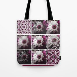 White and Magenta African Daisies Graphic Collage Tote Bag
