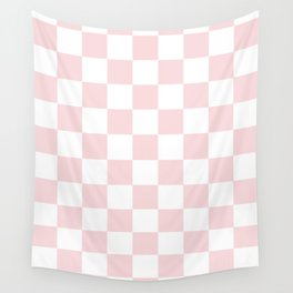 Checkered - White and Light Pink Wall Tapestry