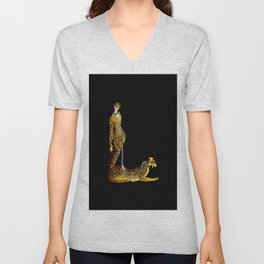 """Lady and the Leopard"" Art Deco Design Unisex V-Neck"