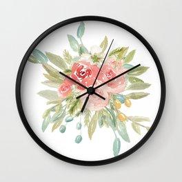 Loose Boho Watercolor Florals Wall Clock