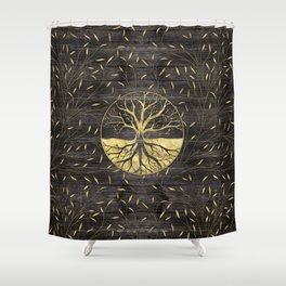 Golden Tree of life on wooden texture Shower Curtain