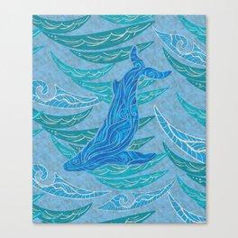 Watercolor Whale Dive Canvas Print