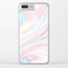 Modern golden marbleized abstract design Clear iPhone Case