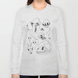 Black and White Hand Drawn Animal Skulls Print Long Sleeve T-shirt