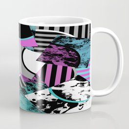 Cluttered Sqaures - Abstract, geometric, stripes, pink, cyan, blue, textured, black, white, arcs Coffee Mug