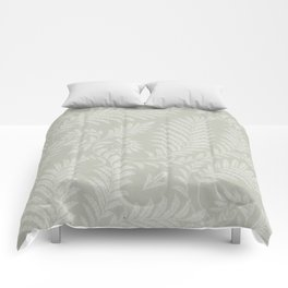 Fancy Scroll Leaves on Pale Green Background Comforters