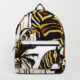 Zebra in Autumn BROWN GOLD YELLOW PATTERN Backpack