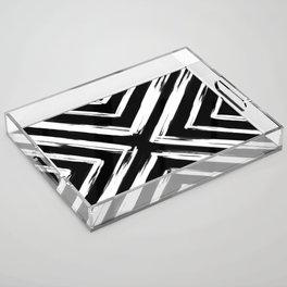 Minimalistic Black and White Paint Brush Triangle Diamond Pattern Acrylic Tray