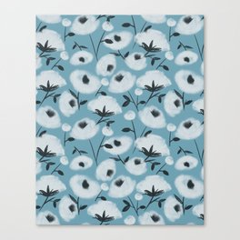 Cotton Flowers on Blue Pattern Canvas Print