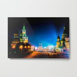 Moscow Kremlin And Red Square At Winter Night Metal Print