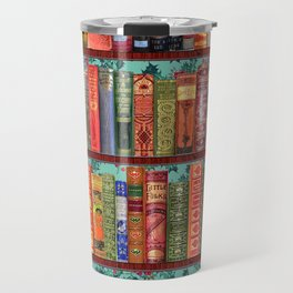 Vintage Books / Christmas bookshelf & holly wallpaper / holidays, holly, bookworm,  bibliophile Travel Mug